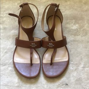Brand New Coach Brown Leather Wedge Sandal Size 7